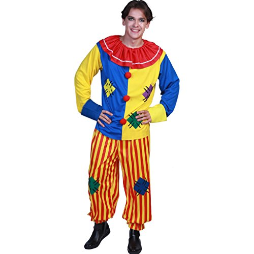 EraSpooky Adult Circus Clown Costume Colorful Suit Halloween Party Joker Role Play -