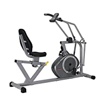 Sunny Health & Fitness Magnetic Recumbent Bike Exercise Bike, 350lb High Weight Capacity, Cross Training, Arm Exercisers, Monitor, Pulse Rate Monitoring - SF-RB4708 from Sunny Distributor Inc.