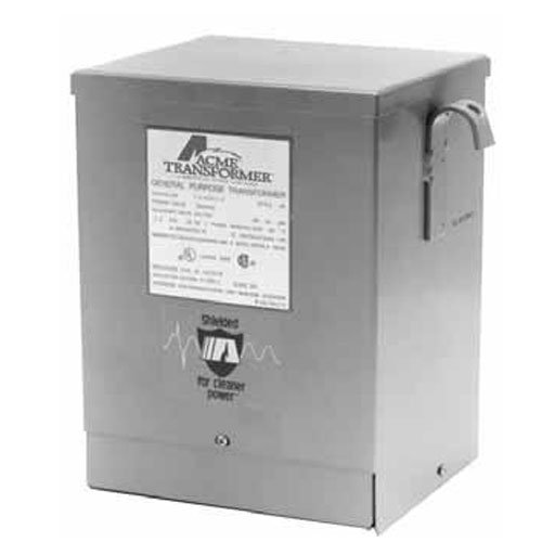 Acme Electric T253011S Dry-Type Distribution Transformer, 1 Phase, 1.50 kVA, 60 Hz, 240 x 480 Primary Volts, 4 Windings, Wall Mount, Steel, Gray