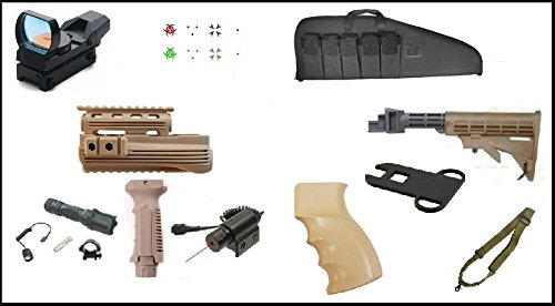 Ultimate Arms Gear AK Dual Red Green Illuminated Special Battle Edition Reticle Open Reflex Sight + Mount + Flashlight + Red Dot Laser + Deluxe Case + Dual Loop Slot (Deluxe Red Dot Sights)