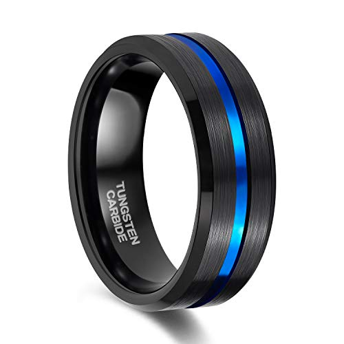 ungsten Carbide Wedding Engagement Band with Thin Blue Groove Beveled Edge Comfort Fit Size 7.5 ()