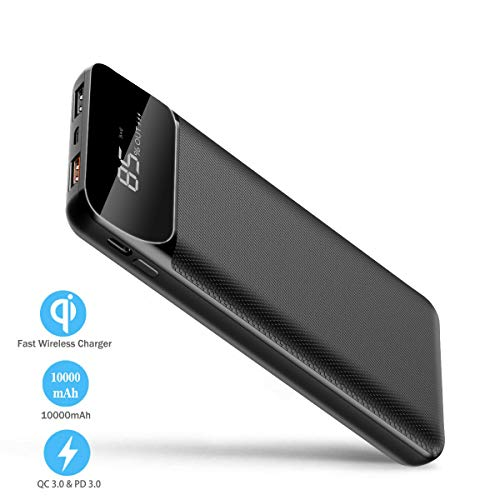 Portable Charger Wireless Power Bank 10000mAh,Hokonui 10W Fast Wireless Charging Portable Charger USB-C Power Bank QC 3.0 and LCD Digital Displaly Phone Battery Pack for iPhone, iPad, Samsung and More