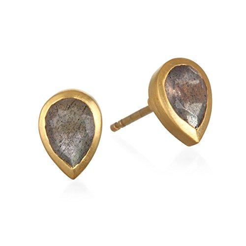 Satya Jewelry Labradorite Gold Plate Stud Earrings - Gold Labradorite Earrings