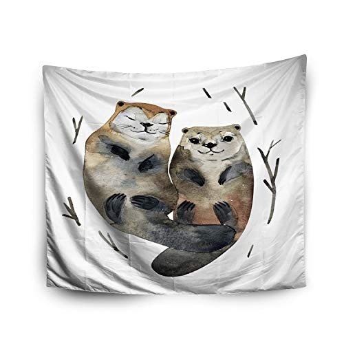 Crannel Halloween Cute Couple Otters in Love in Watercolor Style Hand-Made Artwork Tapestry 60x80 Inches Wall Art Tapestries Hanging for Dorm Room Living Home Decorative ()