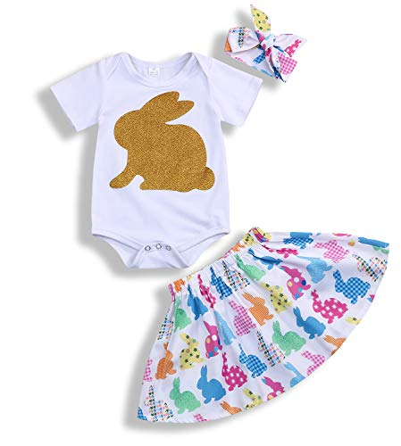 (Toddler Baby Girl Easter Clothes Skirt Set Ruffle Sleeves Top+ Rabbit Print Floral Suspender Skirt Tutu Dress Outfits (White, 6-12 Months))