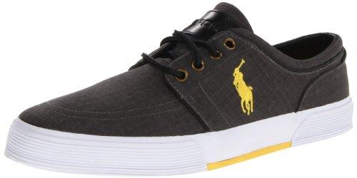 Polo Ralph Lauren Men's Faxon Low Ripstop Sneaker,Black/YelLow Ripstop,7.5 D US