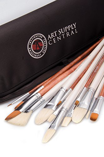 Superior Quality 14 Piece Artist Brush Set *HandMade *7 Natural Bristle & 6 Synthetic Paint Brushes * Free Pouch *No Shedding *For Oil, Acrylic & Watercolor *One Year Guarantee