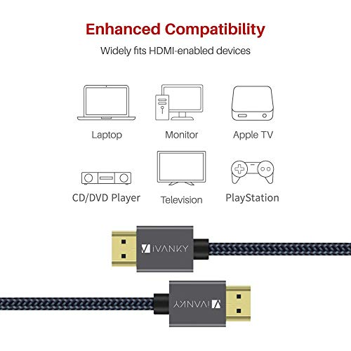 4K HDMI Cable 10 ft, iVANKY High Speed 18Gbps HDMI 2.0 Cable, 4K HDR, HDCP 2.2, 3D, 2160P, 1080P, Ethernet - Braided HDMI Cord 32AWG, Audio Return(ARC) Compatible UHD TV, Blu-ray, PS4/3, Monitor, PC
