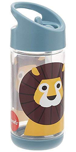 3 Sprouts Water Bottle Kids Small Spill Proof 12oz. Plastic Spout Water Bottle, Blue, Lion ()