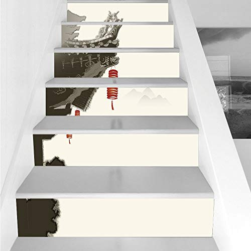 Stair Stickers Wall Stickers,6 PCS Self-adhesive,Ancient China Decorations,Traditional Lantern Hanging From Pavilion Arch Painting Style,Cream Red Grey,Stair Riser Decal for Living Room, Hall, Kids Ro