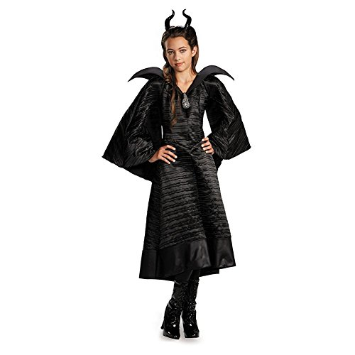 Girls Malificent Christening Black Deluxe Gown Costume Large
