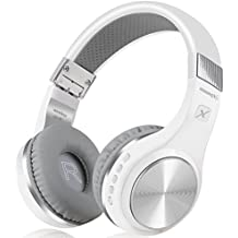 Bluetooth Headphones, Riwbox XBT-80 Folding Stereo Wireless Bluetooth Headphones Over Ear with Microphone and Volume Control, Wireless and Wired Headset for PC/Cell Phones/TV/Ipad (Siver White)