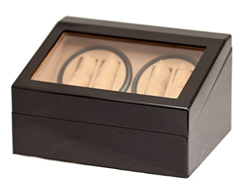 4+6 BLACK WOOD AUTOMATIC QUAD WATCH WINDER DISPLAY STORAGE BOX (Bullion Black Finish)