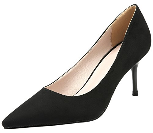 BIGTREE Women Wedding Court Shoes Pointed Toe Elegant Suede High Heels Dress Shoes Black zCcQtRqQ