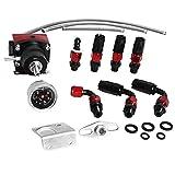 Universal Adjustable Fuel Pressure Regulator Valve Kit 100psi Gauge AN6 Hose Fitting Braided Oil Lines,Red & Black