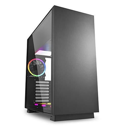 Sharkoon Pure Steel RGB - Caja de Ordenador, PC Gaming, Semitorre ATX, Negro
