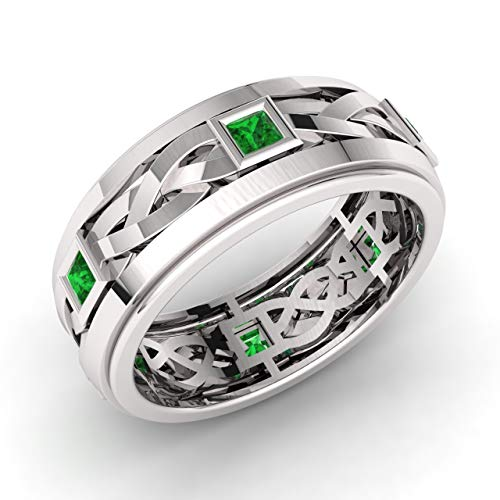 Diamondere Natural and Certified Princess Cut Emerald Wedding Band Ring in 14k White Gold | 0.60 Carat Celtic Knot Ring for Mens, US Size 9