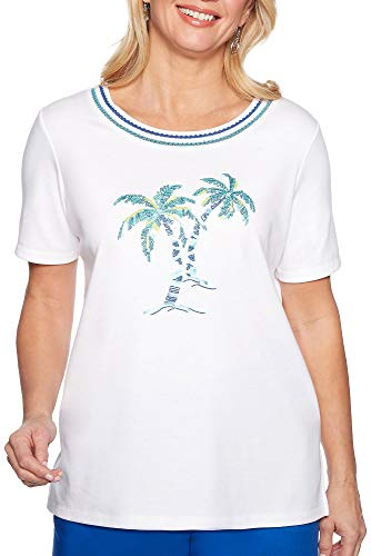 Alfred Dunner Petite Waikiki Embellished Palm Tree Top Large Petite White/Blue/Green ()