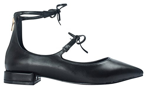 Shoes Womens Toe AnnaKastle Ankle Flats Black Pointy Black Mary Jane 8xSd7qxw