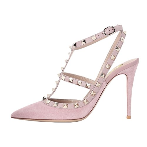 (VOCOSI Women's Slingbacks Strappy Sandals for Dress,Pointy Toe Studs High Heels Sandals Shoes S-Pink 5.5 US)
