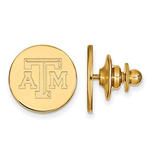Solid 14k Yellow Gold Texas A&M University Lapel Pin (15mm x 15mm)