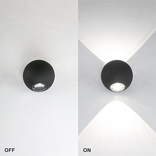 Ralbay LED Wall Sconce Lighting 6W up and Down Design Aluminum Wall Light Ideal for Indoor Bedroom Corridor Balcony Porch Patio Black(4000K-4500K) by Ralbay (Image #1)