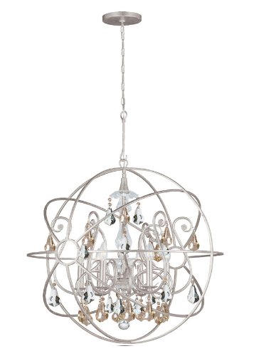 Crystorama 9028-OS-GS-MWP Solaris - Six Light Chandelier, Olde Silver Finish with Golden Majestic Wood Polished Crystal