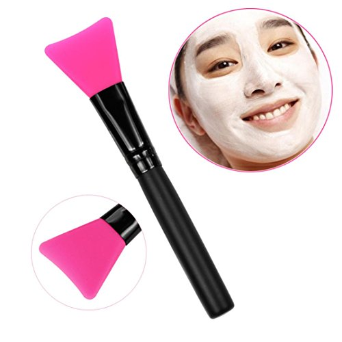 DATEWORK Wooden Handle Facial Mud Mask Mixing Brush (hot pink)