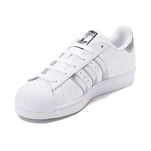adidas Originals Damen Superstar W Fashion Sneaker Weiß / Silber / Weiß