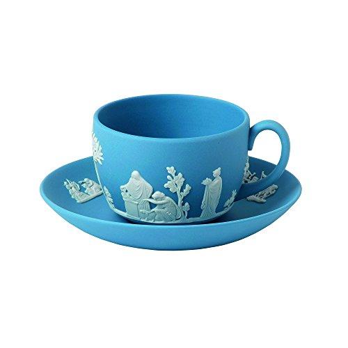Wedgwood Jasperware Teacup and Saucer, Pale Blue