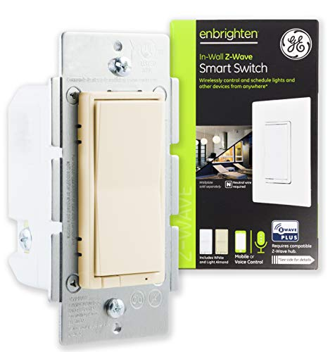 GE Enbrighten Z-Wave Plus Smart Light Switch, On/Off Control, in-Wall, Ivory Paddle, Repeater/Range Extender, Zwave Hub Required, Works with SmartThings, Wink, Alexa, 38192, White & Light ()