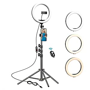 Best Epic Trends 41kfJXMpB5L._SS300_ 10.2 inch Selfie Ring Light with Tripod Stand & 2 Phone Holders,Anbes Dimmable Led Camera Ringlight for Photography…