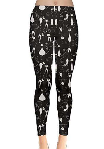 CowCow Black White Cats on Black Pattern for Your Design Leggings, Black-M