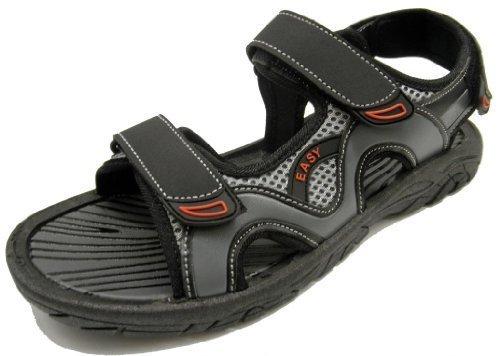 Easy USA Mens Velcro Sandal- Black/Grey- 11 from Easy USA