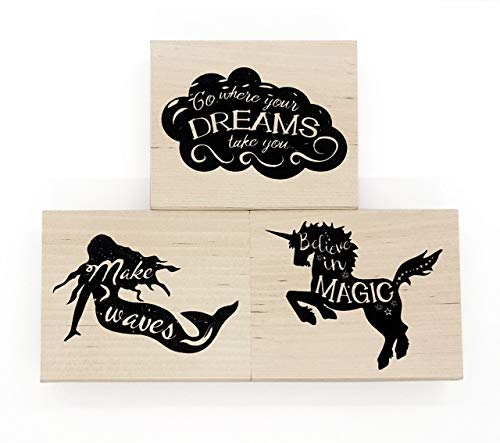 Opia CRAFTS Inspirational Quote Wood Mounted Rubber Stamp Set - 3 Pieces - Unicorn, Mermaid, Cloud for Card Making, Scrapbooking and DIY Crafts ()