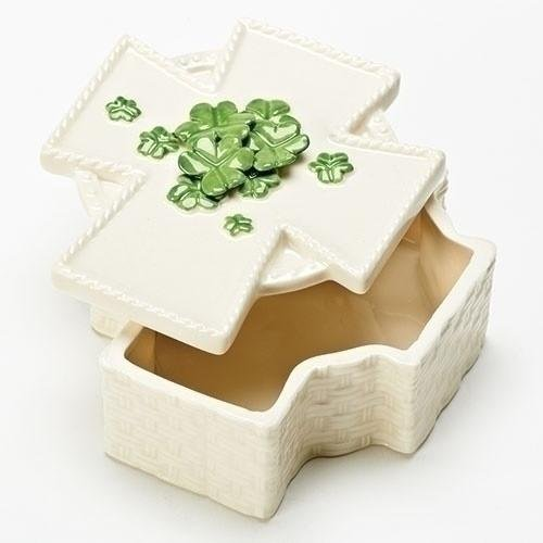 (Roman Inc Cross Shaped Shamrock Porcelain Keepsake Box)