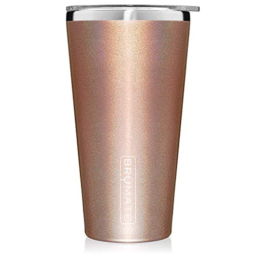 Brümate Imperial Pint 20oz Shatterproof Double Wall Vacuum Insulated Stainless Steel Travel & Camping Mug for Beer, Cocktails, Coffee & Tea with Splash-Proof Lid for Men & Women (Glitter Rose Gold)