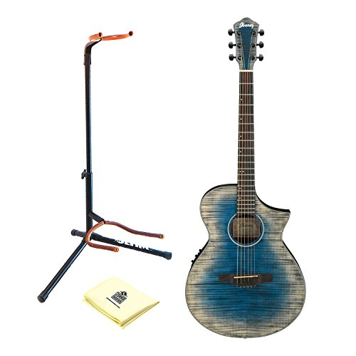 Ibanez AEWC32FM Thinline Acoustic-Electric Guitar in Blue Burst with Stand and Zorro Sounds Guitar Polishing Cloth