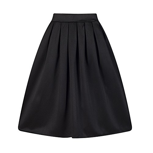 Taydey A-Line Pleated Vintage Skirts for Women (L, Black) (Black Pencil Skirt Pockets)