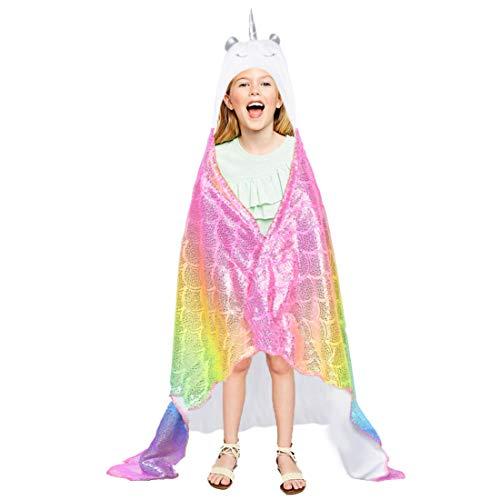 Plush Wearable Blanket - Rainbow Unicorn Blanket Hooded Wearable Plush Throw Blankets for Girls Unicorn Birthday