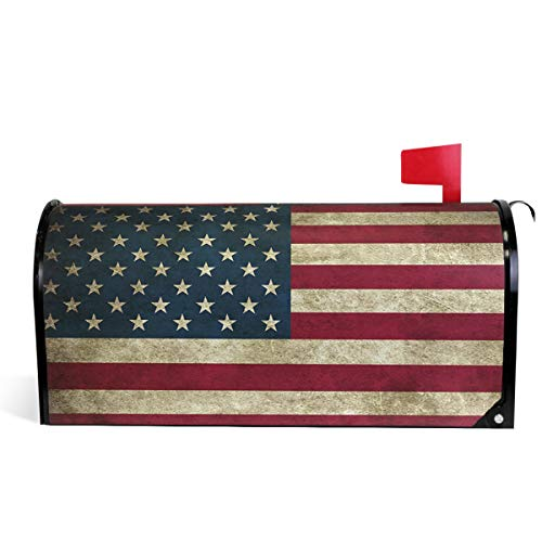 (July 4Th Independence Day USA American Flag Welcome Large Magnetic Mailbox Post Box Cover Wraps 25.5