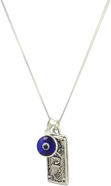 Sterling Silver Protection Charm Necklace with Evil Eye Charm - 19