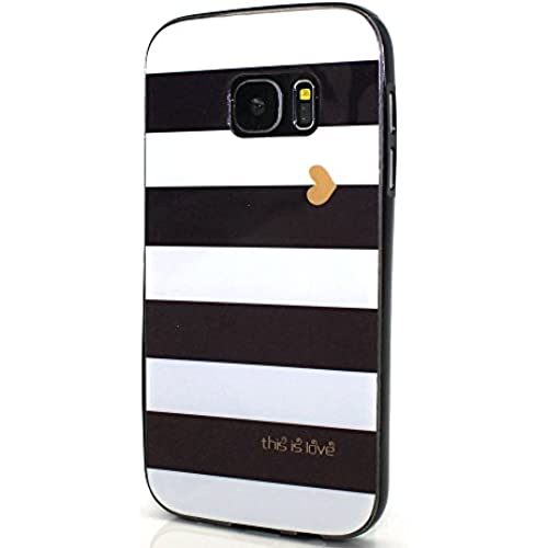 Galaxy S7 Edge Case, Wandeneng Hybrid Fancy Colorful Pattern Hard Soft Silicone Bumper Case Fit for Galaxy S7 Edge(2016) (White and black) Sales