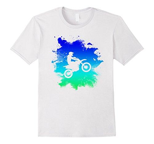 Bike White T-shirt (Mens Motocross and Dirt Bike T-Shirt For Off Road Large White)