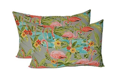 Set of 2 - Indoor / Outdoor Rectangle / Lumbar Decorative Throw / Toss Pillows ~ Waverly Elegant Tropical Platinum Flamingo - Grey Aqua Green Coral