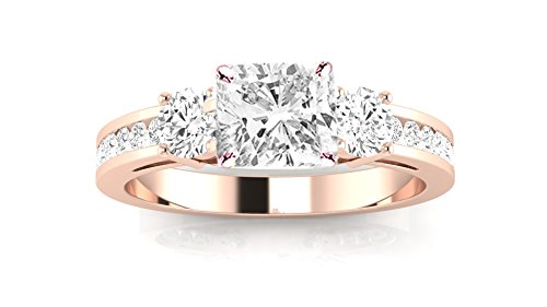 14K Rose Gold 1.44 CTW Channel Set 3 Three Stone Diamond Engagement Ring w/ 0.84 Ct GIA Certified Cushion Cut F Color VS2 Clarity - Ring 3 Stone 40 Round