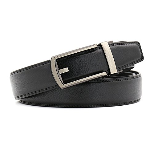 9a0b9f838a80 Fandicto Mens Genuine Leather Ratchet Belt 1 1/8'' Wide with Sliding Buckle