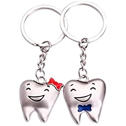 Zeroyoyo Cute Teeth Couple Charm Pendant Key Chain Keyring Keyfob Valentine's Day Gift 1 Pair