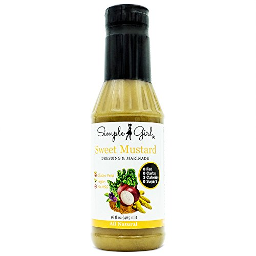 Simple Girl Sugar Free Sweet Mustard Salad Dressing 16oz - Diabetic/Vegan Friendly - Carb/Gluten/Fat Free - Compatible with Most Sugar Free Diet Plans (Sauce Sweet Mustard)