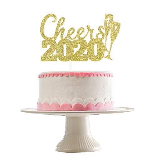 Gold Glittery Cheers to 2020 Cake Topper- New Years Eve Party Decorations,New Years Party Cake Decor- Farewell to 2019 and welcome to 2020
